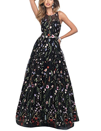 YSMei Women's Summer Embroidery Floral Long Prom Dress Scoop Evening Party Gown Black Custom ()