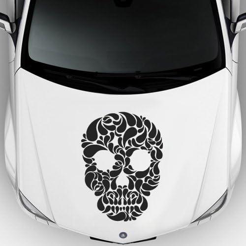 Amazon Com Car Decal Hood Sticker Vinyl Design Sugar Skull Pink Pinstripes Flowers Cheerful M177c Home Kitchen