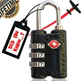 Sureina Combination Lock | Travel Suitcase & Luggage Lock | TSA Approved & Accepted | Set Your Own Combination |3 Digit Combination Padlock | Small, Portable & Resettable |Best Choice For Safe Travel
