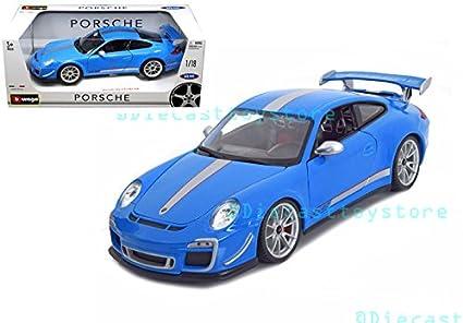 Amazon Com Bburago 1 18 Porsche 911 Gt3 Rs 4 0 Toy Blue 18 11036bl Toys Games