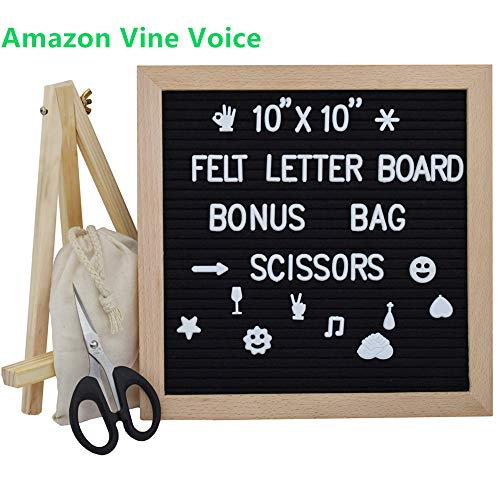- Letter Board 10x10 Inches, Changeable Letter Boards with 340 White Letters and Felt Letter Board with Stand, Wooden Tripod Stand for Classroom, Home, Office, Business (Black)