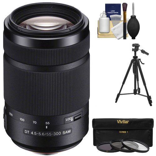 Sony Alpha 55-300mm f/4.5-5.6 DT SAM Zoom Lens with 3 UV/CPL/ND8 Filters + Tripod + Accessory Kit for A37, A58, A65, A68, A77 II, A99 Cameras