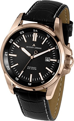 Jacques Lemans Men's Liverpool 44mm Black Leather Band Rose Gold Plated Case Automatic Watch 1-1869B