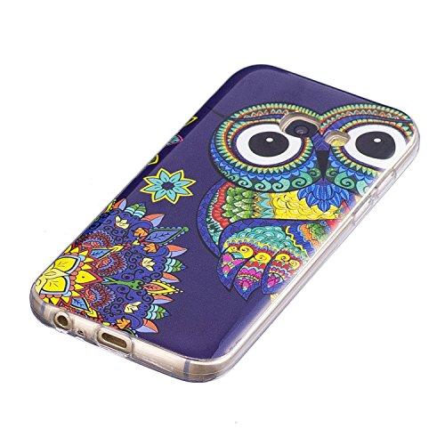 Qiaogle Teléfono Caso - Funda de TPU silicona Carcasa Case Cover para Samsung Galaxy S7 Edge / G9350 (5.5 Pulgadas) - XS52 / Azul + Unicorn XS54 / Suerte Búhos
