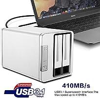 TerraMaster D2-310 USB Tipo C Disco Duro Externo Raid Caja USB3.1 ...