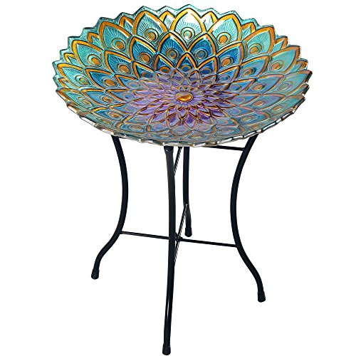 "Peaktop Outdoor Bird Bath Mosaic Flower Fusion Glass, 21.2"" Height, Blue/Purple"