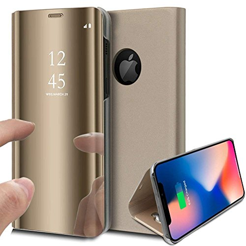 PHEZEN iPhone Xs Max Case, Luxury Mirror Makeup Case Translucent View Window Plating PU Leather Stand Flip Case Wallet Case Full Body Protective Case for iPhone Xs Max 6.5