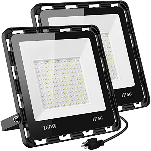 Ceouheia 2 Pack 150W LED Flood Light Outdoor, 10000LM LED Work Light with Plug, 5000K Daylight White, IP66 Waterproof Outdoor Floodlights for Yard, Garden, Playground