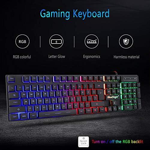 BlueFinger RGB Gaming teclado y mouse retroiluminado, teclado USB con cable retroiluminado, juego de teclado LED para juegos para computadora portátil, juego de computadora y trabajo 5