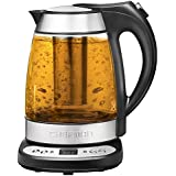 Chefman Electric Glass Digital Tea Kettle with Free Infuser, Built-in Precision Temperature Control & Keep Warm Function, 1.7L Silver