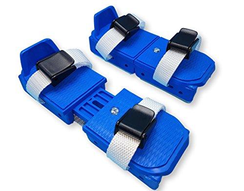Bob Skates - adjustable strap on two runner ice skates (Blue)