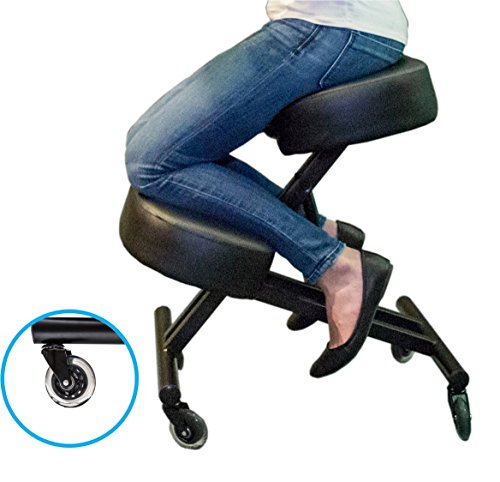 Cheap Sleekform Kneeling Chair for Perfect Posture | Ergonomic Knee Stool Relieving Back & Neck Pain | Rollerblade Wheels & Adjustable Height for Office & Home | 4″ Soft & Comfortable Memory Foam Cushions