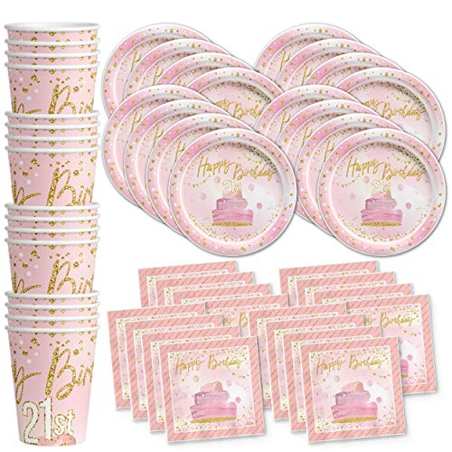 21st Finally Twenty One Pink and Gold Birthday Party Supplies Set Plates Napkins Cups Tableware Kit for 16 -