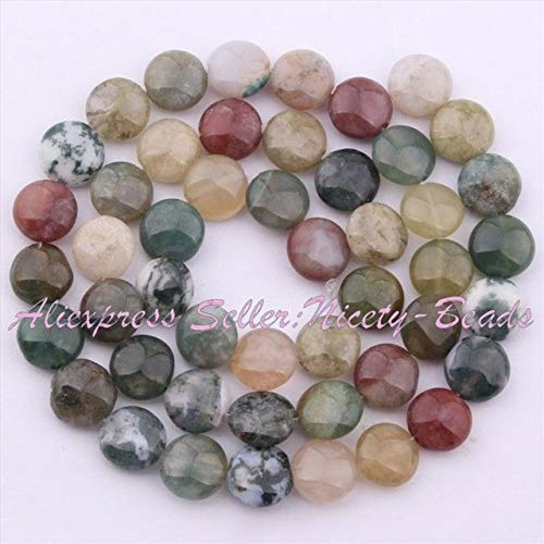 (Calvas 8-25mm Smooth Coin Buttons Bead Indian Agates Natural Stone Beads for DIY Necklace Bracelats Jewelry Making 15