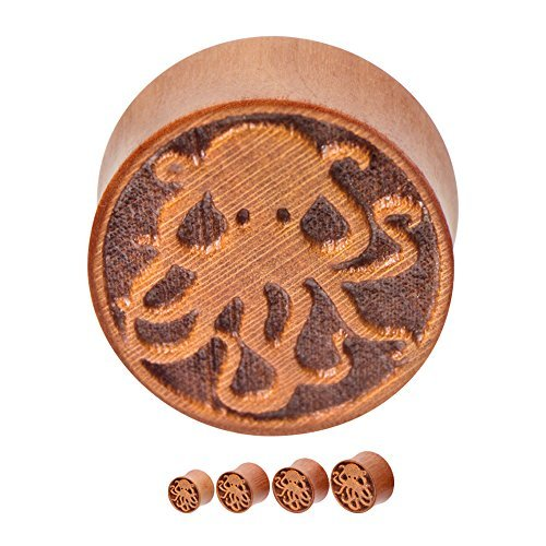 Pair of Organic Ear Plugs - Hand Carved Octopus Cherry Wood Saddle-Fit Double Flare Plugs (12mm - 1/2 inch) by BodyJewelryOnline (Saddle Cherry)