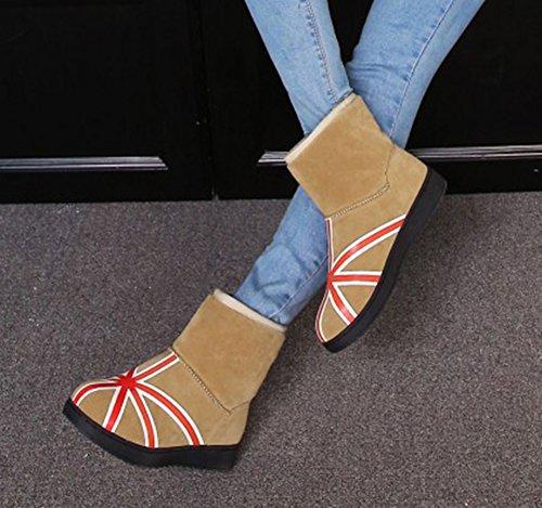 Talons Chaussures Femme Aisun Plates De Hiver Abricot Bottines wBqp7p