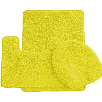 Amazon Com 3 Piece Bath Rug Set Mustard Yellow Bathroom