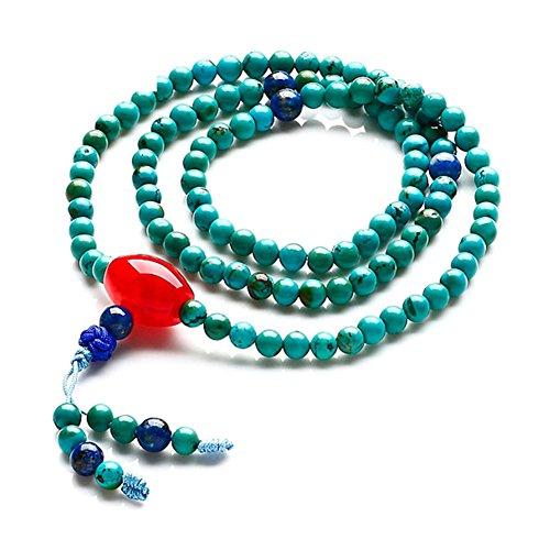 bleu turquoise108 Bracelet de perles de prière bouddhiste/Bracelets de chapelet cristal naturel