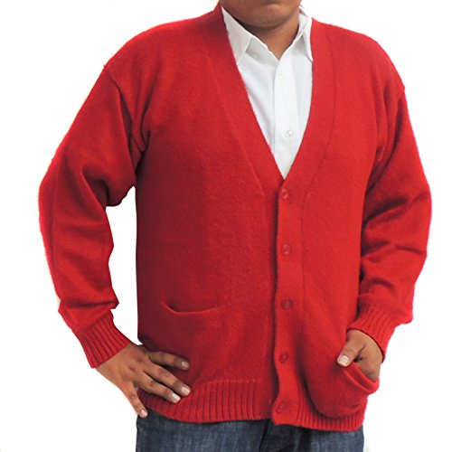 ALPACA CARDIGAN GOLF SWEATER JERSEY V neck buttons and Pockets made in PERU RED M