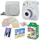 Fujifilm Instax Mini 9 instant Fuji Camera SMOKEY WHITE+ Camera Case + instant Mini 9 Film Twin Pack + instax Picture Frame + Magnet Frame + 20 Border Stickers Kit +FREE Cleaning cloth (Smokey White)