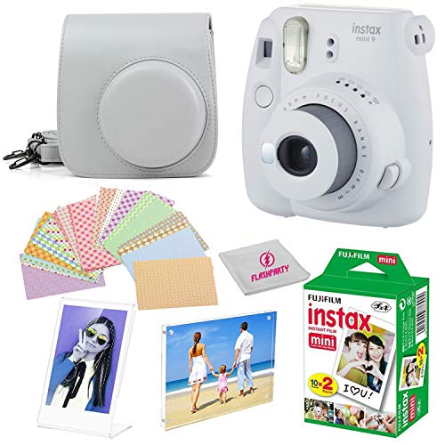Fujifilm Instax Mini 9 instant Fuji Camera SMOKEY WHITE+ Camera Case + instant Mini 9 Film Twin Pack + instax Picture Frame + Magnet Frame + 20 Border Stickers Kit +FREE Cleaning cloth (Smokey White)