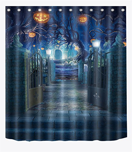 Halloween Pumpkin Decor (Decorations Shower Curtain Set by LB,Halloween Pumpkin Decor Bath Curtain 60x72 inch Polyester Fabric Bathroom Curtains with Hooks Anti Bacterial Waterproof)