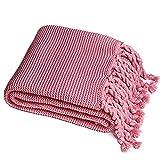 TBATM Manta De Punto Hecha A Mano Manta De Cama Borla Sherpa Manta De Hilo De Algodón Hipoalergénico para Sofá De Dormitorio Coche, 200X160 Cm,Pink