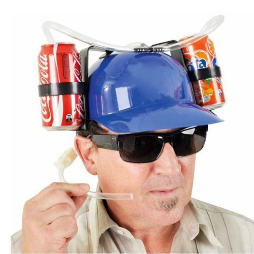 Drinking Hats With Straws - MareLight Beer and Soda Coke Cool Helmet Drinking Cap Drinking Hat with Straws Can Holder Drink Novelty Night Party Game Toy World Cup Gift Fun Party Hat (Blue)