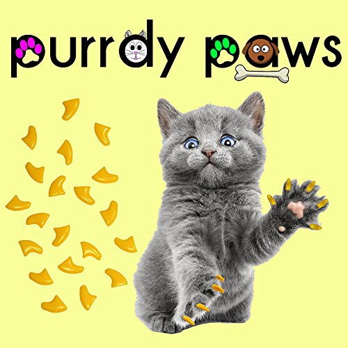Purrdy Paws 100-Pack Soft Nail Caps For Cat Claws YELLOW MEDIUM by Purrdy Paws