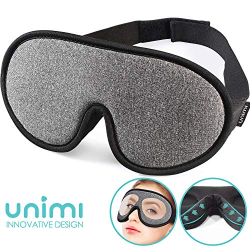 Sleep Mask,Unimi Eye Mask for Sleeping 3D Breathable Memory Foam Contoured Modular Nap/Travel/Shift Work Sleeping Mask,100% Lights Blockout Sleep Mask for Men Women, Soft Comfort Eye Shade Cover (Best Sleep Mask Uk)