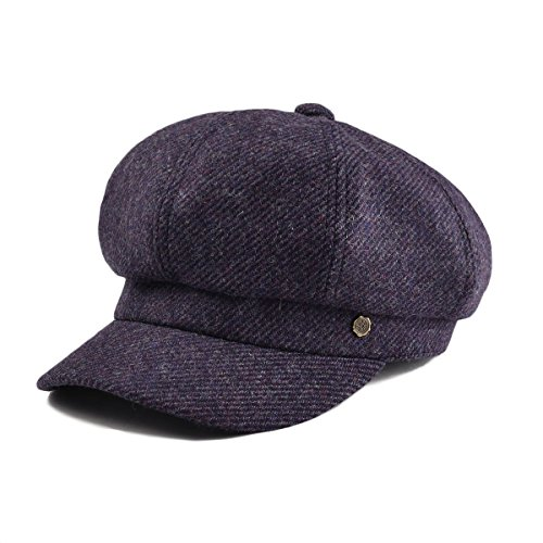 VOBOOM Womens Visor Beret Newsboy Hat Cap for Ladies 100% Wool Tweed (Purple)