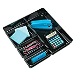 mDesign Square 4 Compartment Office Desk Drawer Organizer Tray for Office Supplies, Gel Pens, Pencils, Markers, Tape, Erasers, Paperclips, Staplers - 2'' Deep, Black