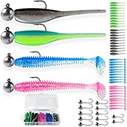 REELIZE - 2'' Crappie jigs (52pcs), Panfish Lures and Soft Lures for Trout, Bluegill, Bass. Swimbaits with Jig