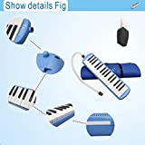 Baisidai 32 Key Piano Style Melodica With Box Organ Accordion Mouth Piece Blow Key Board (Blue)