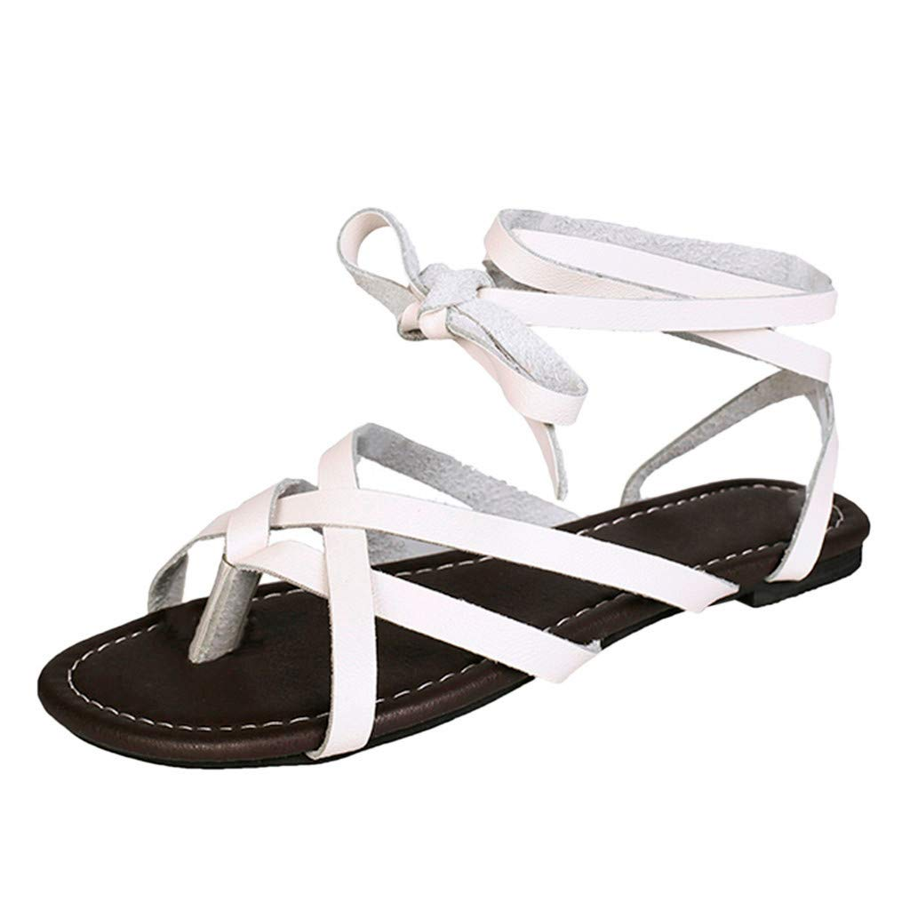 Gladiator Flat Sandals for Women,SMALLE◕‿◕ Women Summer Shoes Female Flat Sandals Rome Style Cross Tied Sandals Shoes White