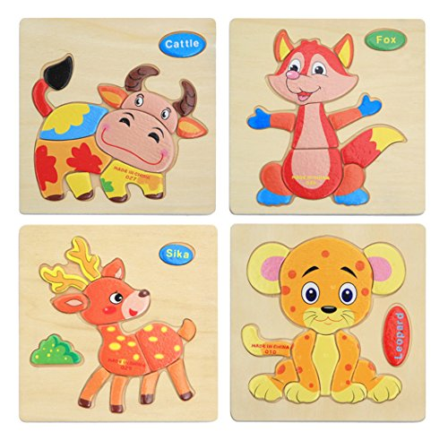 Hillento 3D Wooden Puzzles Jigsaw Educational Toys Puzzle for Toddlers Kids - Educational Puzzle Toys Set, Educational & Sensory Learning for Toddlers, Set of 4(Leopard, Sika, Cattle, Fox) from Hillento