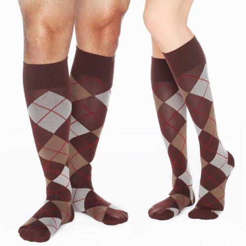 RejuvaHealth-Compression-Knee-High-Unisex-Sock-Argyle-Chestnut-20-30-mmHg