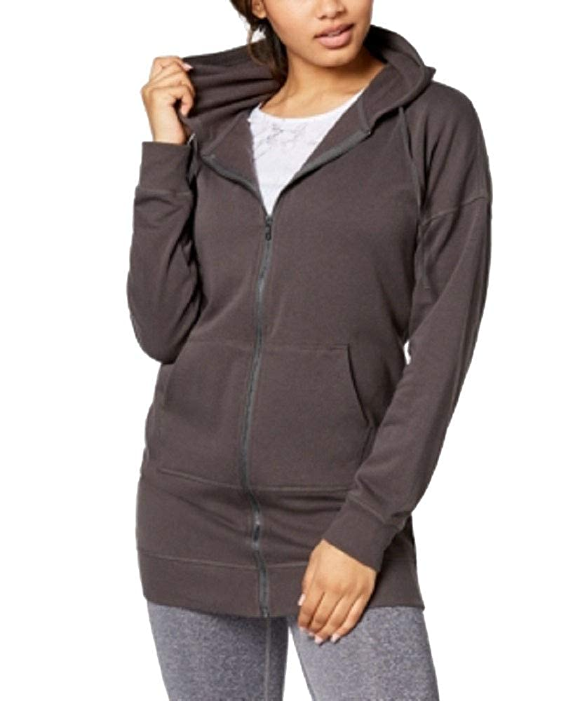 Material Girl Active Juniors Zip-Front Lace-Up Tunic Hoodie