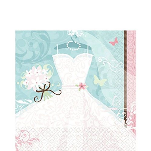 Top Amscan Something Bridal Shower Party Lunch Napkins, 36 Pieces, Made from Paper, Blue/Pink/White by