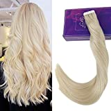 LaaVoo 14″ 50g/20pcs Tape in Human Hair Extensions Platinum Blonde Color #60 Gule on Remy Human Hair Extensions Review