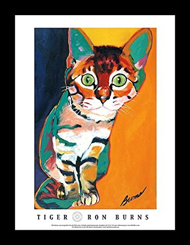 Buyartforless Framed Tiger by Ron Burns 24x18 Art Print Poster Cat Kitten Cute Colorful ()