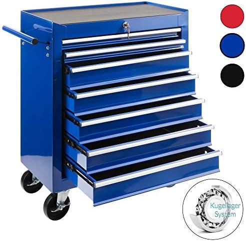 Arebos Werkstattwagen 7 Fächer/zentral abschließbar/Anti-Rutschbeschichtung/Räder mit Feststellbremse/Massives Metall/rot, blau oder schwarz (Blau)
