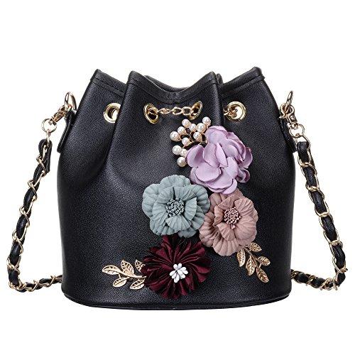 Women's PU Leather Flower Drawstring Bucket Bag Crossbody Bag Shoulder Bag Purse