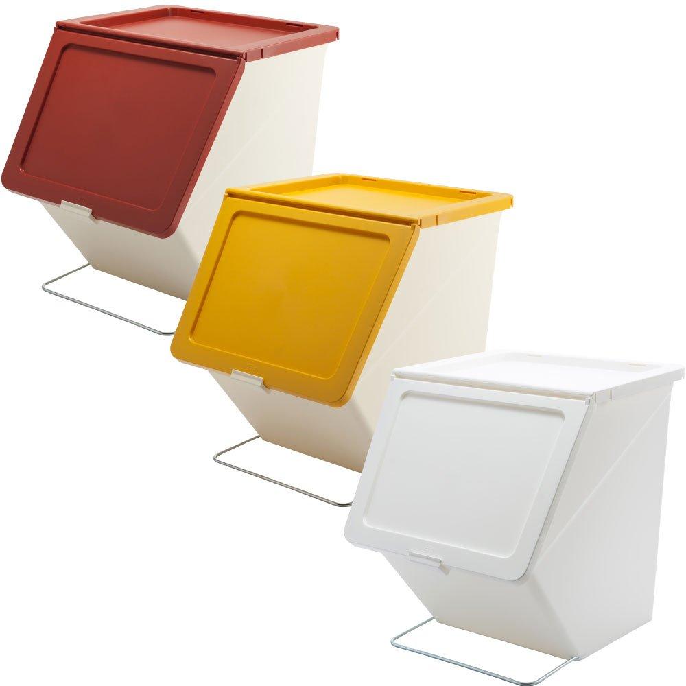 スタックストー ペリカン ガービー 38L 全6色の中から選べる3個セット ゴミ箱 ごみ箱 ダストボックス おしゃれ ふた付き stacksto pelican (レッド×イエロー×ホワイト) B0759JHY14 レッド×イエロー×ホワイト レッド×イエロー×ホワイト