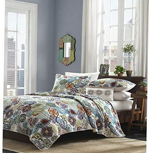 Kaputar Beautiful 4 PC Soft Blue Ivory Purple Teal Floral Girl Comforter Quilt Set   Model CMFRTRSTS - 4147   Twin Extra Long by Kaputar (Image #1)
