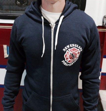 New England Firefighter Zip Up Hooded Sweatshirt X-Large