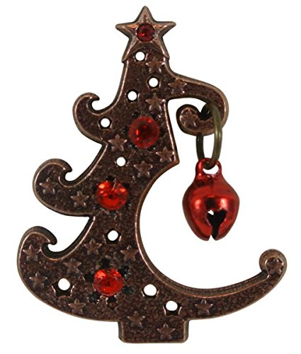 Pin de árbol de navidad de metal con adornos de piedras de color y cascabel - cobre antiguo