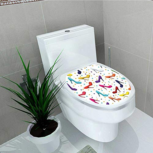 Analisa A. Houk Toilet Seat Wall Stickers Paper Women Shoes Stilettos Vector Dot Background Decals DIY Decoration W11 x L13