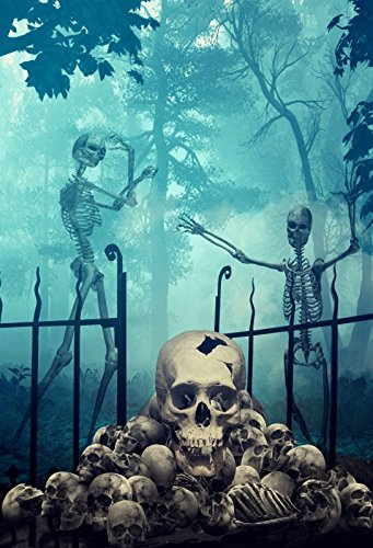 Baocicco Halloween Theme Background 5x6.5ft Photography Background Horror Skulls Walking Zombies Ghastly Forest Screaming Backdrop Terror Wizard Craft Halloween Night Child Adult Photo Shoot