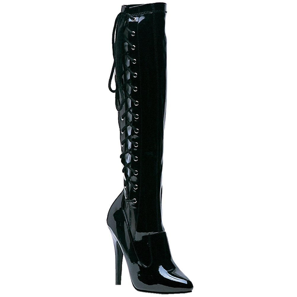 Women's Sexy Knee-High Side Lace-Up Black Patent Leather Lady Pirate Boots - DeluxeAdultCostumes.com